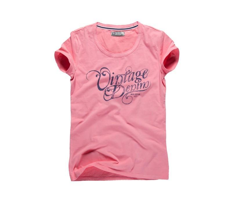 różowy t-shirt Big Star z nadrukiem - letnia kolekcja