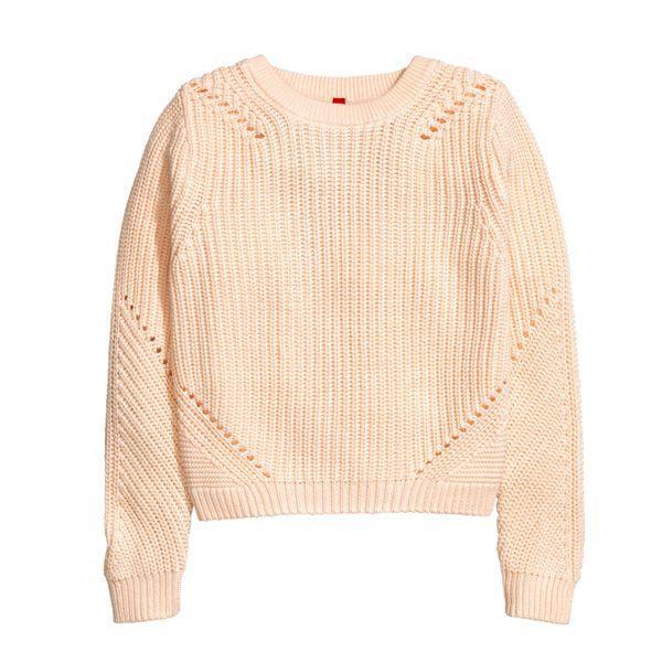 Pastele wiosna 2015: brzoskwiniowy sweter H&M, cena