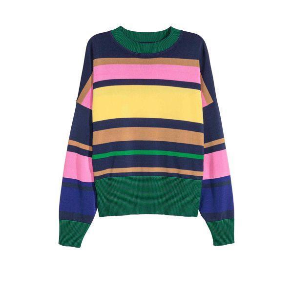 Sweter w kolorowe paski H&M, cena