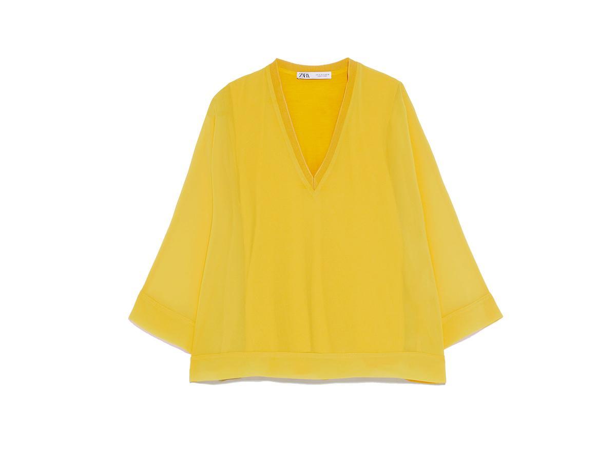 Żółta bluzka o luźnym kroju Zara, cena