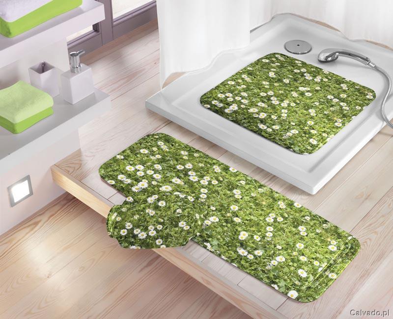 Piękna mata łazienkowa w kolorze zieleni we wzorki łączki Kleine Wolke