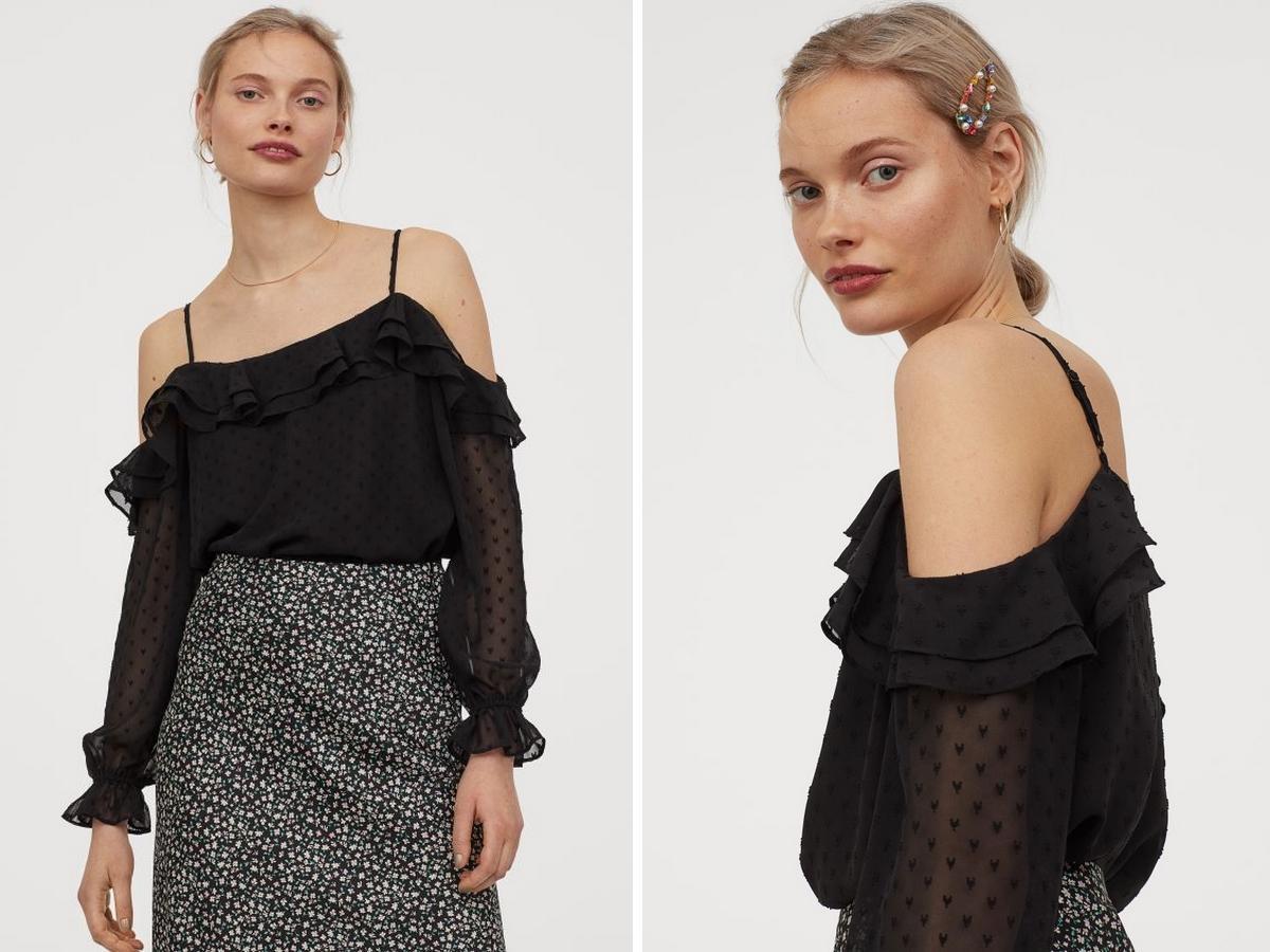 wyprzedaż w H&M: bluzka off-shoulder