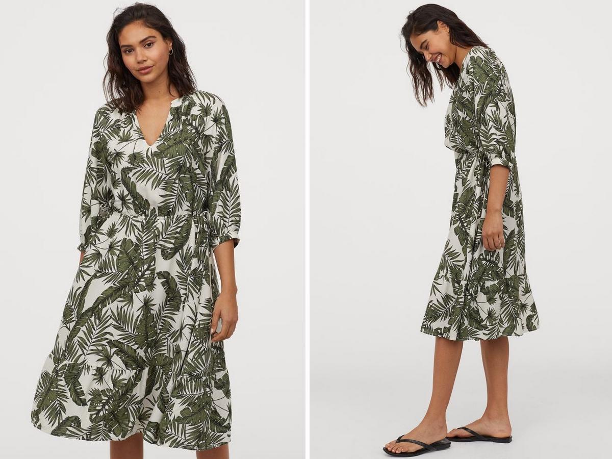 wyprzedaż w H&M: sukienka w palmowe liście