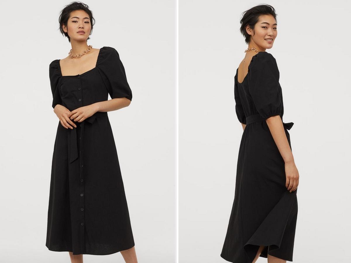 wyprzedaż w H&M: midi sukienka z bufiastymi rękawami