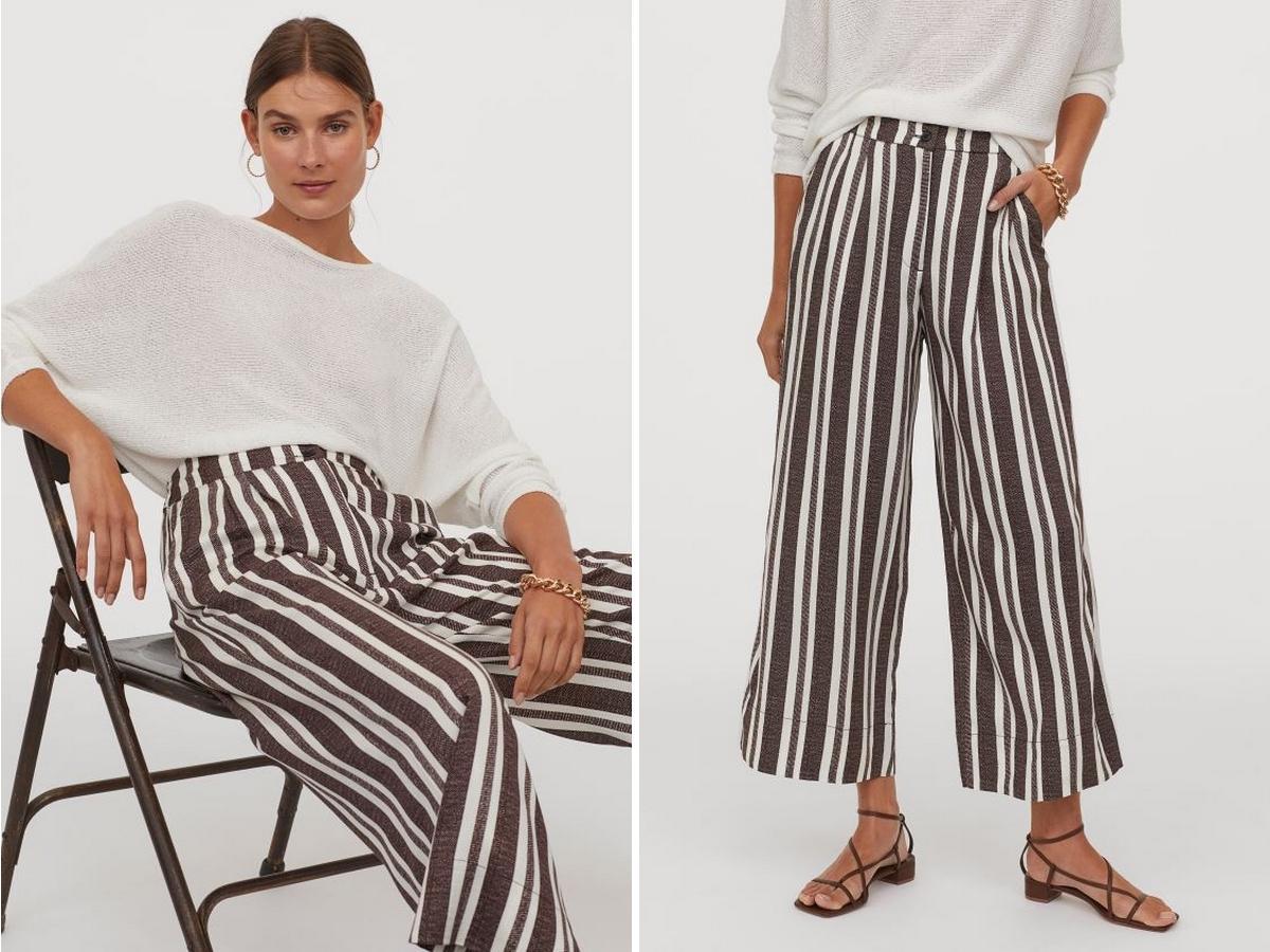 wyprzedaż w H&M: szerokie spodnie w paski