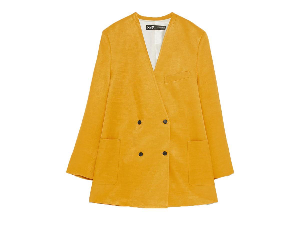 Żółta dwurzędowa marynarka oversize Zara