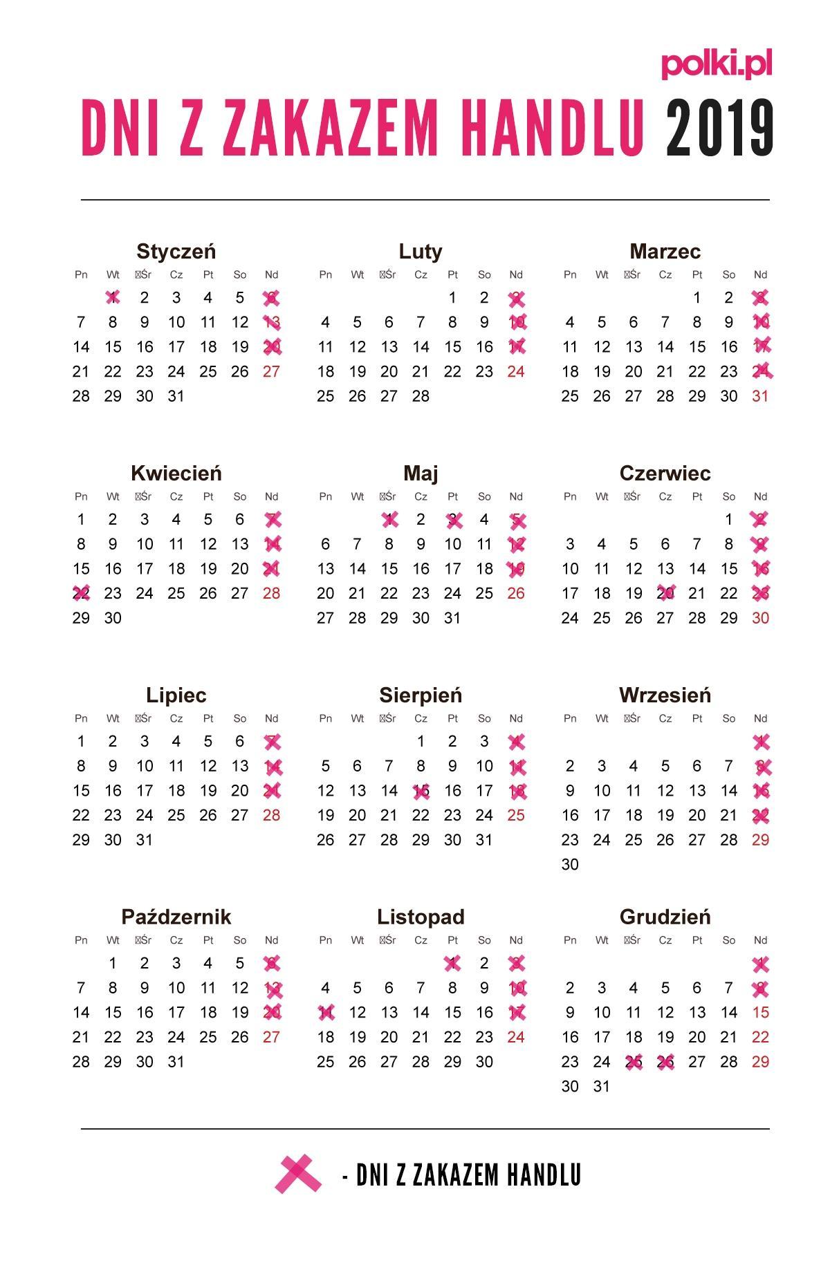 dni wolne od pracy 2019 rok