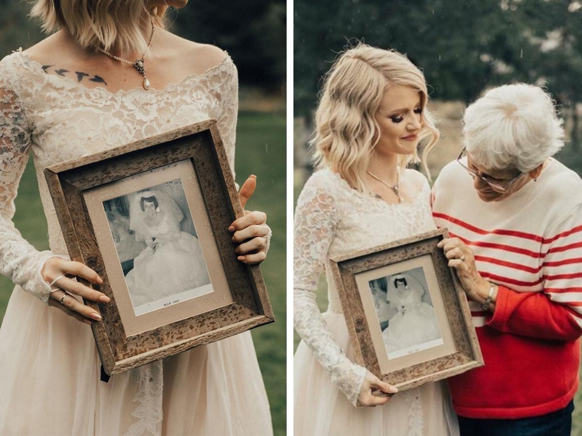 panna młoda w sukni ślubnej babci