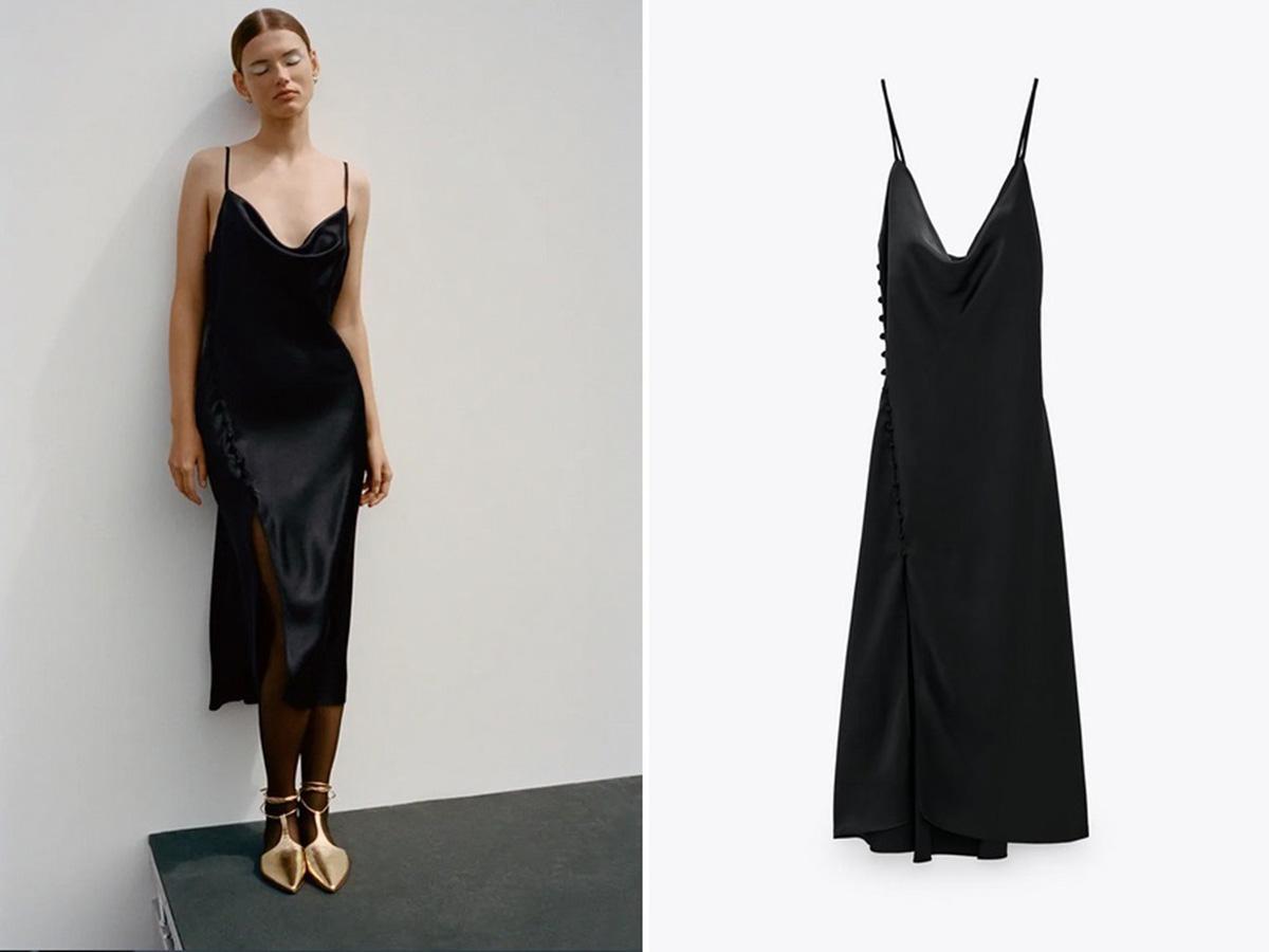 Zara kolekcja na jesień 2020: czarna sukienka bieliźniana