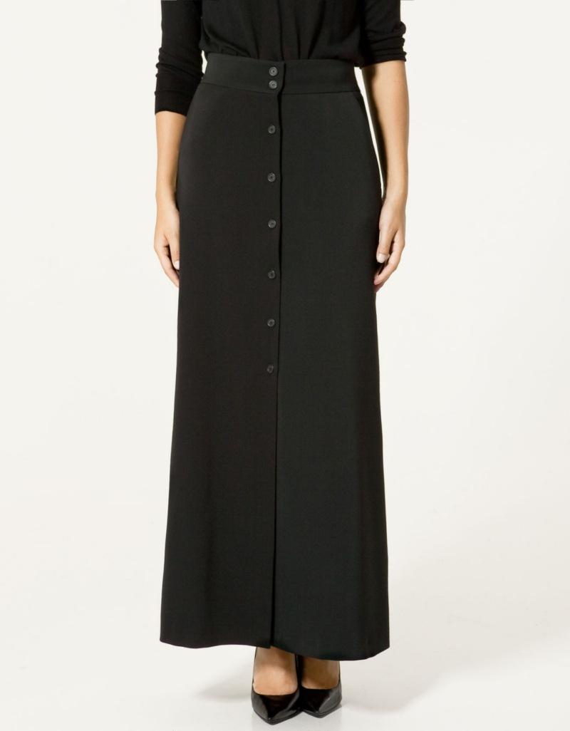 czarna spódnica ZARA z guzikami długa moda jesieńzima