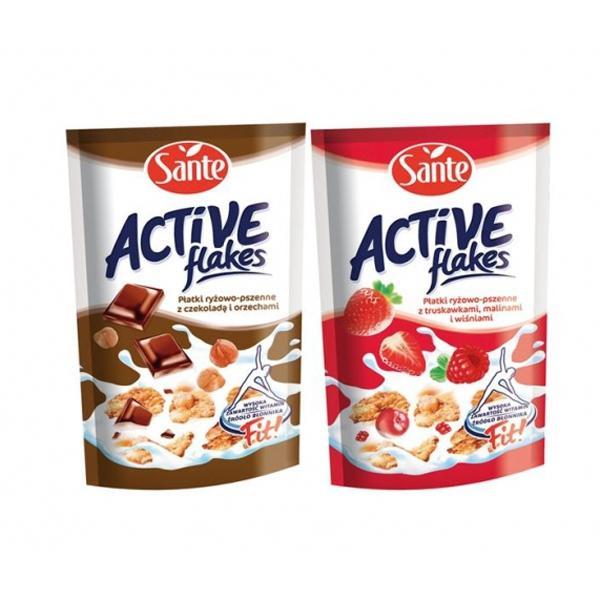 Płatki Active Flakes Sante - płatki ryżowo-pszenne z czekoladą oraz orzechami i wersja z truskawkami, malinami i wiśniami