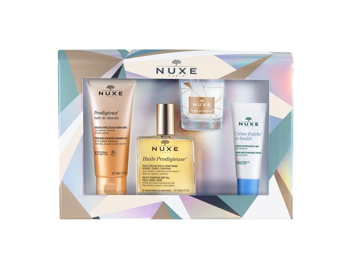 Zestaw prezentowy Nuxe Iconic - zawiera suchy olejek, świeczkę i olejek pod prysznic o uzależniającym zapachu