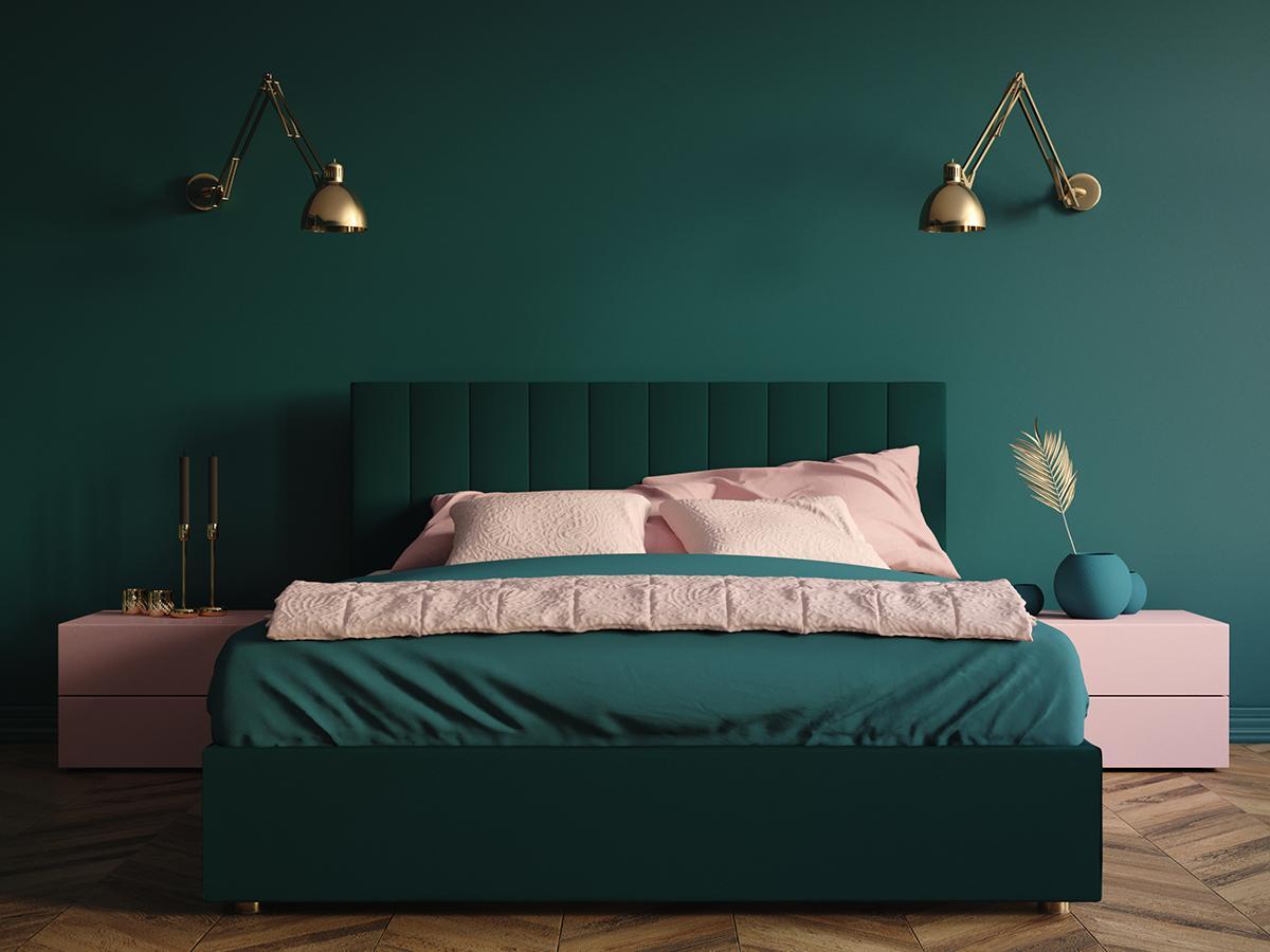 zielono-różowa sypialnia