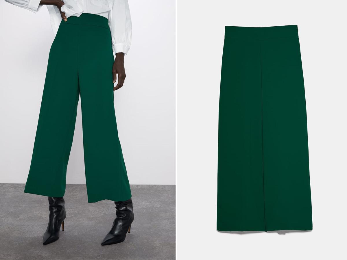 zielone spodnie culottes Zara
