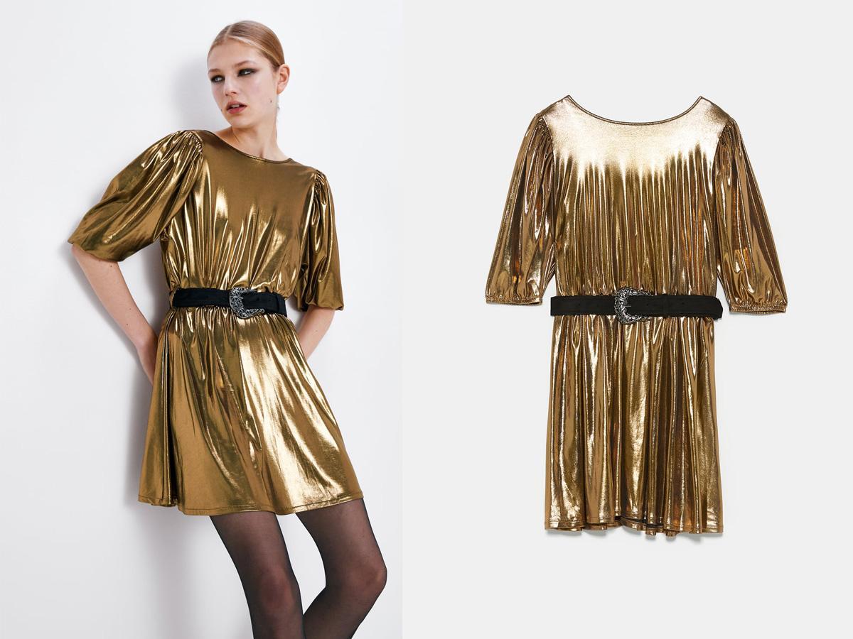złota sukienka Zara