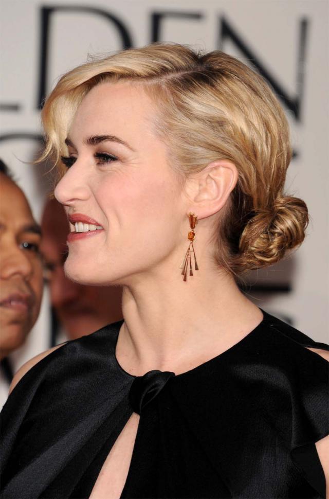 Kate Winslet na rozdaniu Złotych Globów 2012, makijaże i fryzury gwiazd
