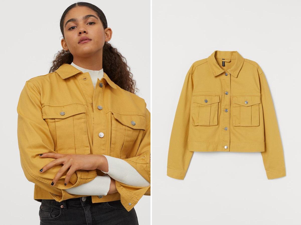 żółta kurtka jeansowa H&M