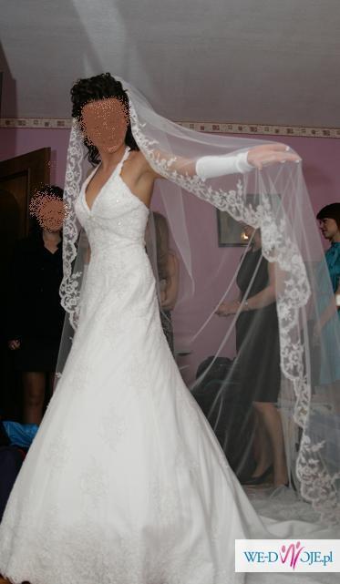 Biała Bajkowa Suknia ślubna Z Podpinanym Trenem Koronka