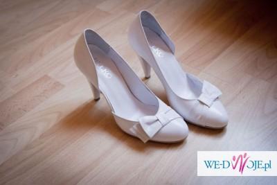 buty ślubne - skórzane firmy RYŁKO w kolorze białym. Rozmiar 37.5