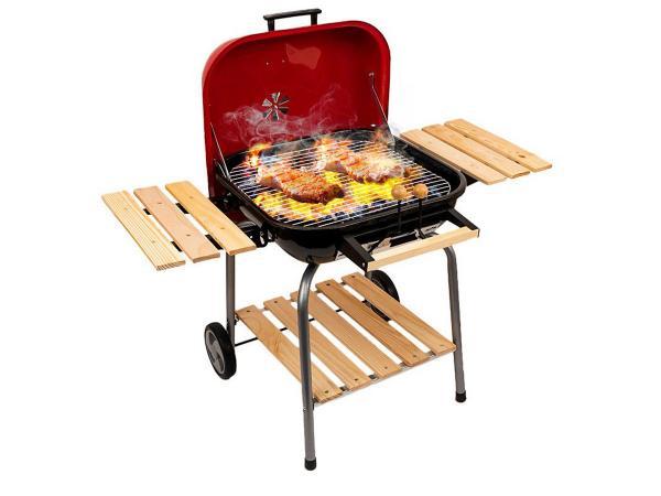 Grill węglowy z półkami i kółkami BBQ Master