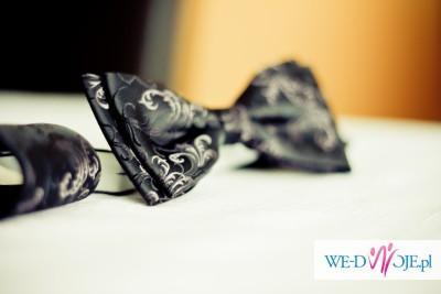 Kamizelka ślubna z fioletowym ornamentem