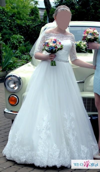 Koronkowa Suknia ślubna Z Podpinanym Trenem Welon Halka Suknie