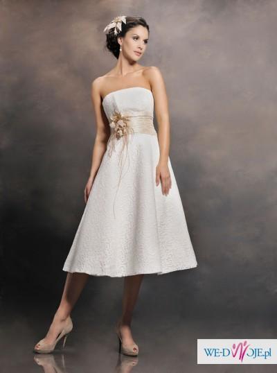 Oryginalna, krótka suknia ślubna