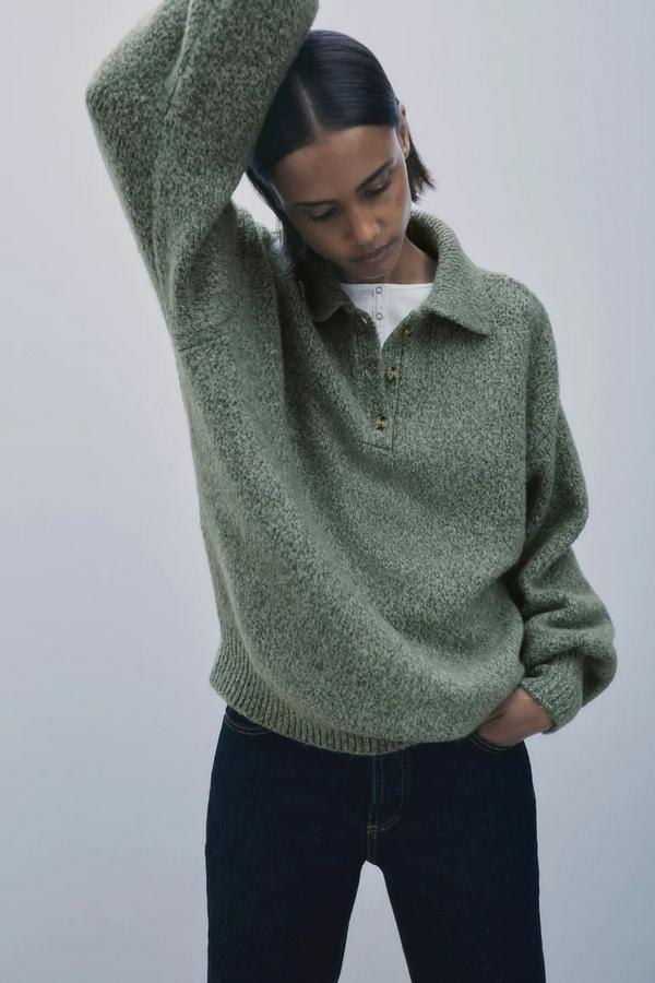 oversizowy sweter z kołnierzykiem Zara