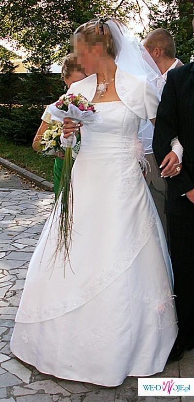 Piękna BIAŁA Suknia Ślubna 38/40 + bolerko SPRZEDAM !!