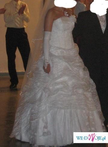 Piekna biała suknia z koronka- tanio!!!