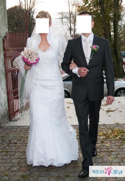 piekna koronkowa suknia ślubna