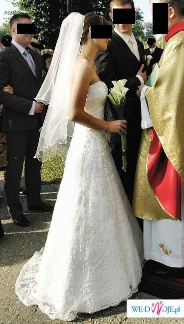 piękna koronkowa suknia ślubna rozmiar 38 stan idelany