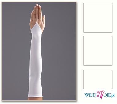 rekawiczki gladkie białe 45cm na jeden palec i welon 45 cm, białe nowe!!!