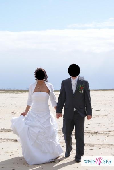 Śliczna suknia ślubna, rozm. 38 + bolerko + rękawiczki