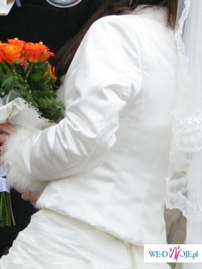 Ślubne długie bolerko - żakiecik ecru