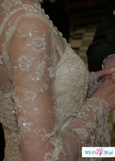 Sprzedam niebanalną, elegancką suknię ślubną toffi