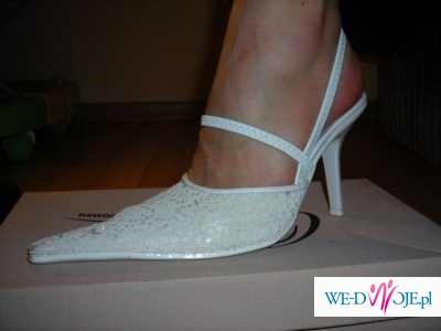 Sprzedam nowe, śliczne, białe, z koralikami,  buty ślubne. Rozmiar 38!