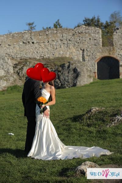 """Suknia dla Ciebie - La Spoza """"Fanal"""" XS/S z trenem + bolerko i welon"""