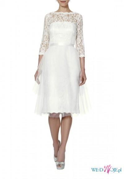 50baaf5273 Suknia ślubna APART 34 xs koronka długi rękaw koronkowy 500 zł ...