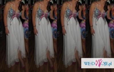 Suknia ślubna Biała Asymetryczna Motyl Kolorowy Suknie ślubne