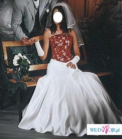 Suknia ślubna dwuczęściowa; spódnica trapezowa oraz gorset+dodatki. 36/38.