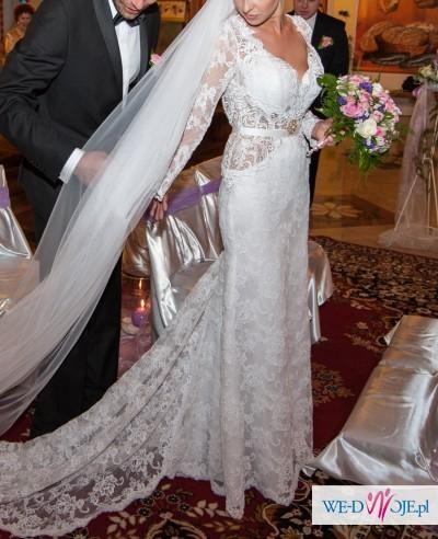 Suknia ślubna jak berta inbal dror, włoska koronka odkryte plecy