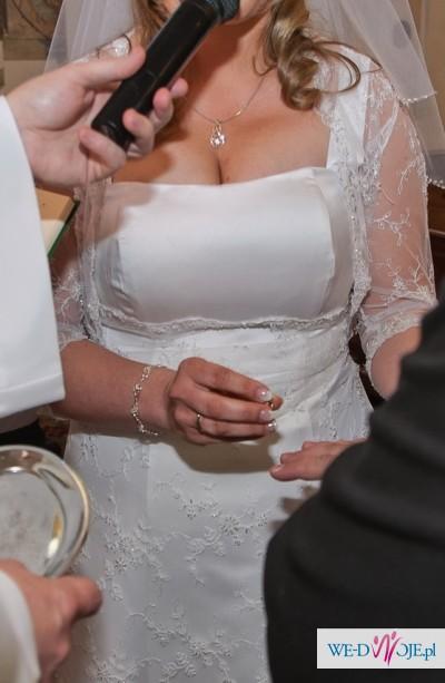 Suknia ślubna na Duży Biust! r 46! Bolerko + buty gratis