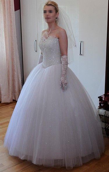 Bardzo dobryFantastyczny Suknia ślubna Princessa z brokatowym tiulem, kryształkami WS62