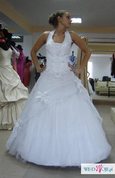 Suknia ślubna Rozm 40 44 Biała Princessa Brokatowy Tiul Suknie