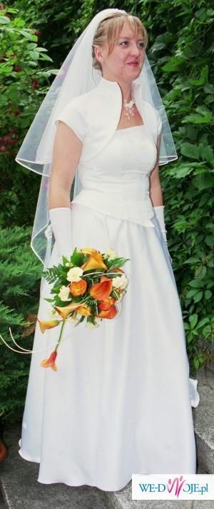Suknia ślubna trzyczęsciowa biała