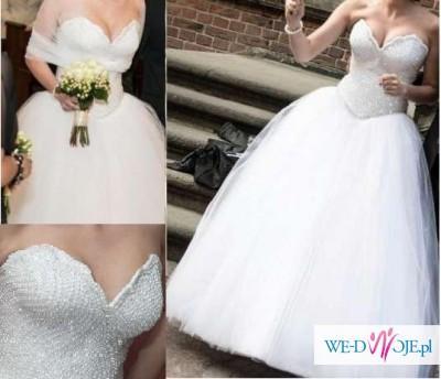 Wyszczuplająca suknia ślubna, proncessa z klasą, inna niż wszystkie! r. 38