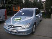 Błękitna limuzyna Peugeot 607 woj. Podkarpackie.