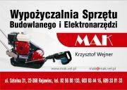 Wypożyczalnia sprzętu budowlanego MAK Krzysztof Wejner