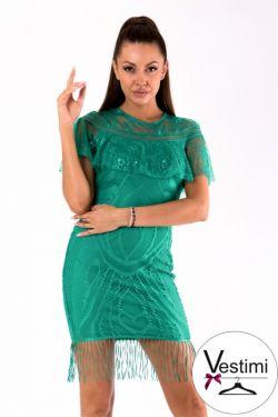 ANDRIA dopasowana koronkowa sukienka z frędzlami